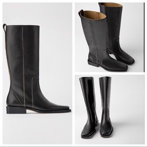 NWT: SQUARE TOE LEATHER TALL BOOTS